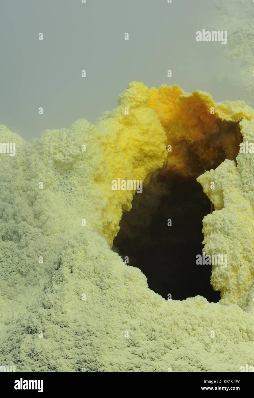 Active fumaroles and deposits of sulphur within the caldera of the Sierra Negra Volcano. Isabela, Galapagos, Ecuador - Stock Image