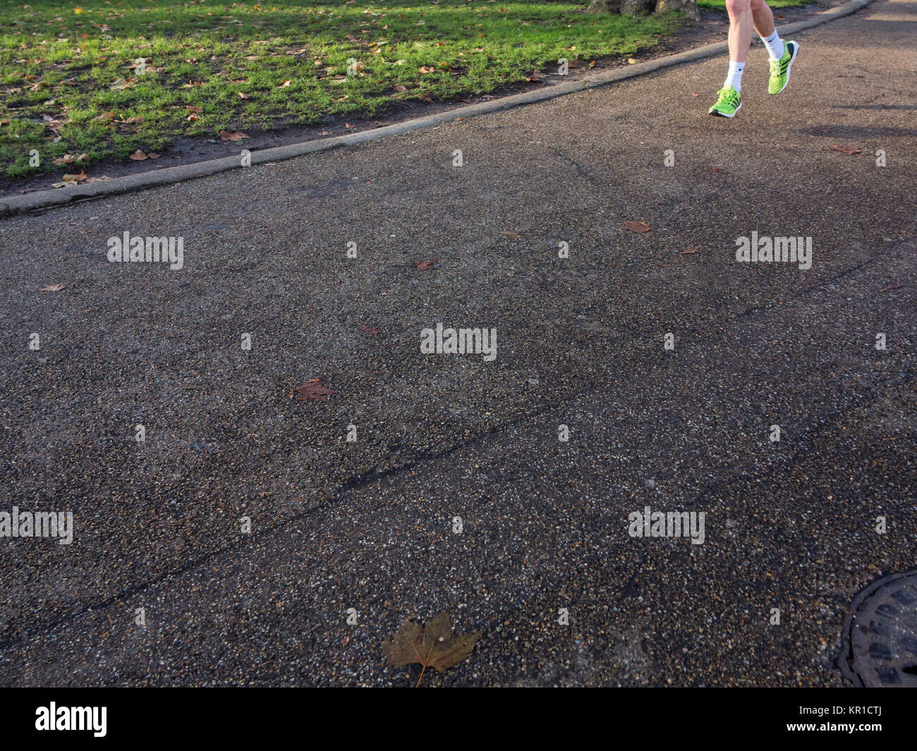 A runners feet with lots of copy space - Stock Image