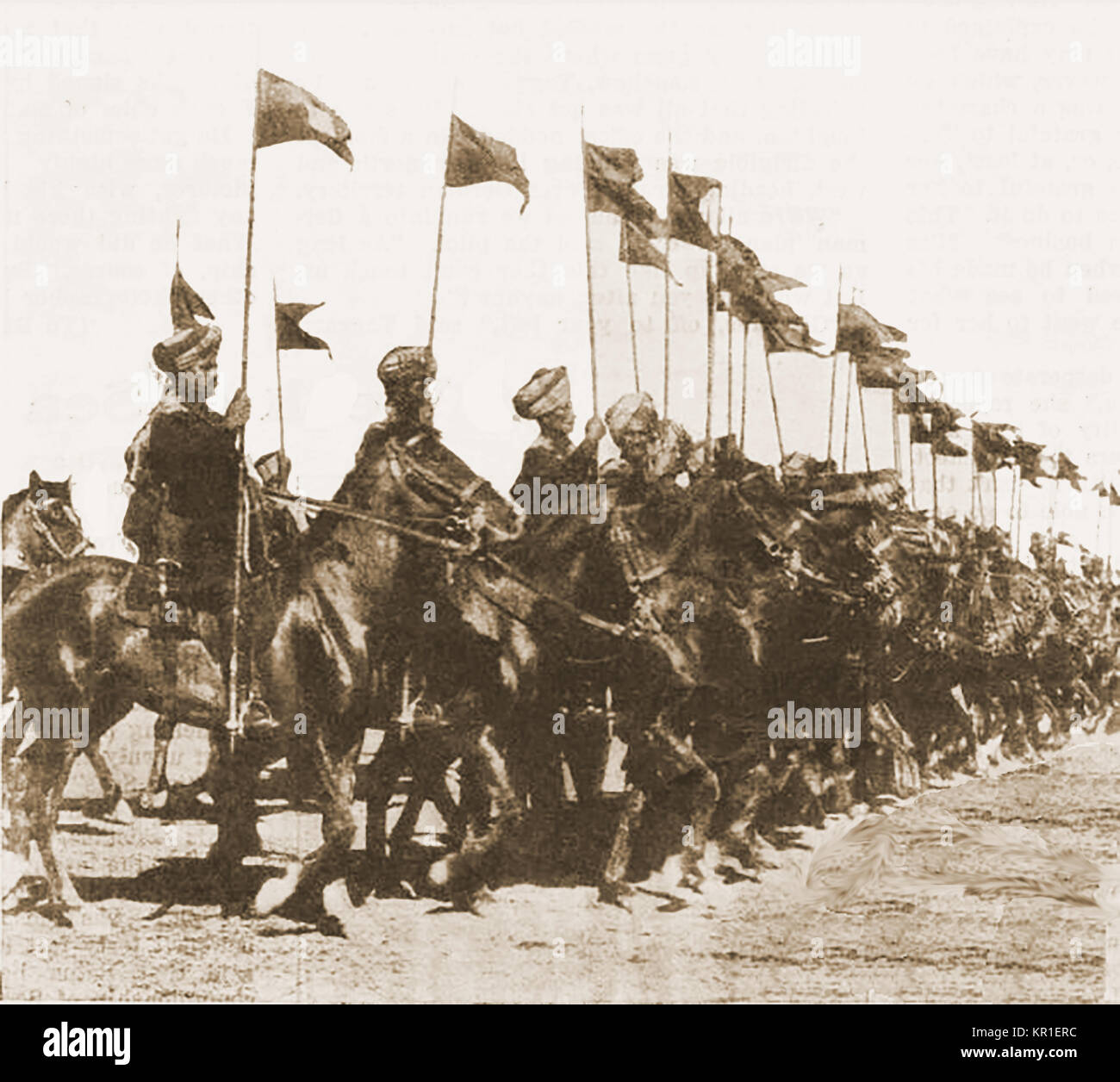 A Magazine printed photograph showing a band of Indian mounted cavalry troops supporting the British army in  the - Stock Image