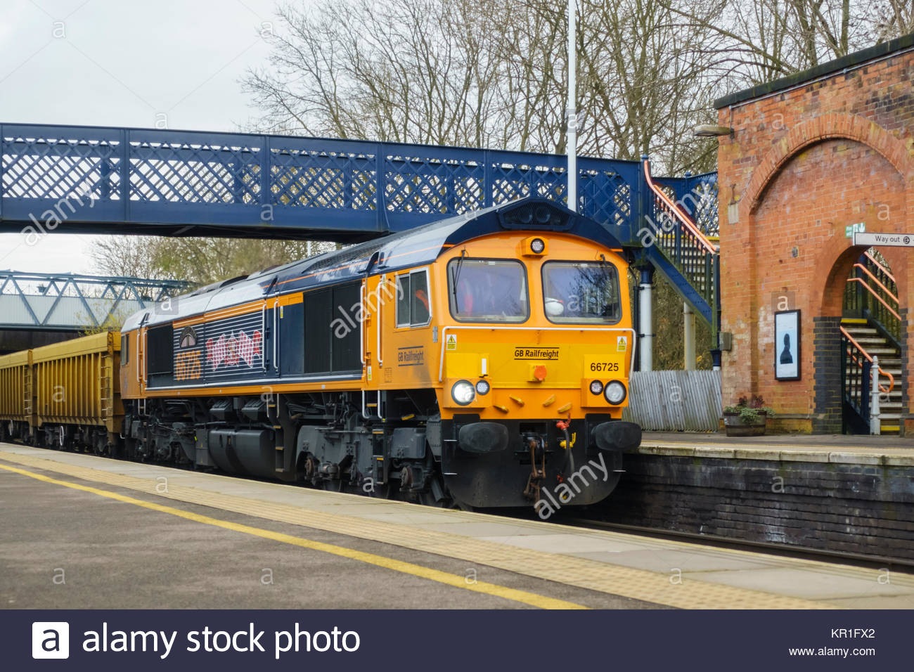 GBRf Freight train Class 66 - 66725 in Sunderland AFC Livery passing through Melton Mowbray - Stock Image