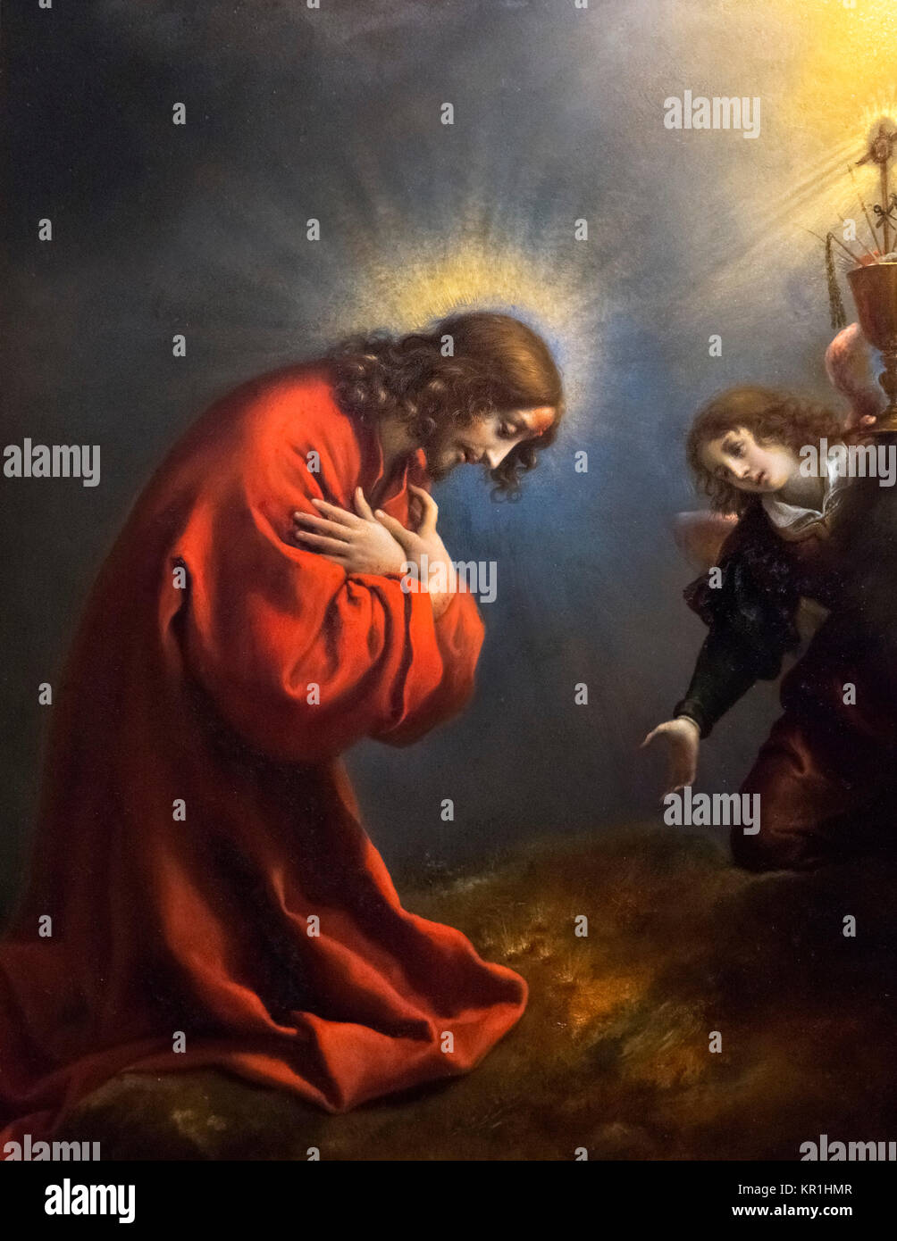 Christ in the Garden of Gethsemane by Carlo Dolci (1616-1686) - Stock Image