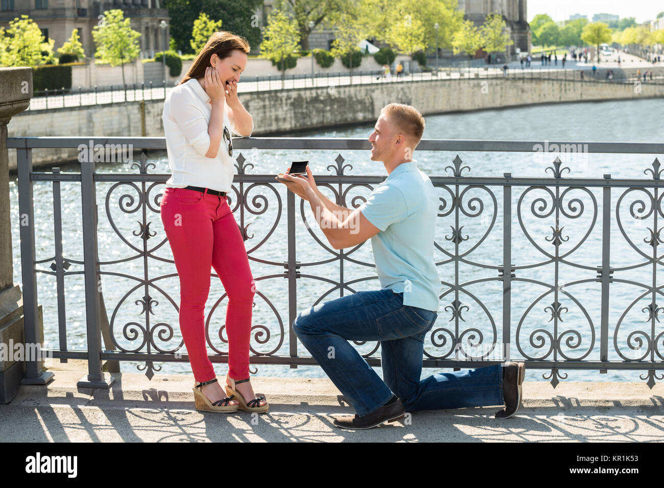 Man With Ring Making Proposal - Stock Image