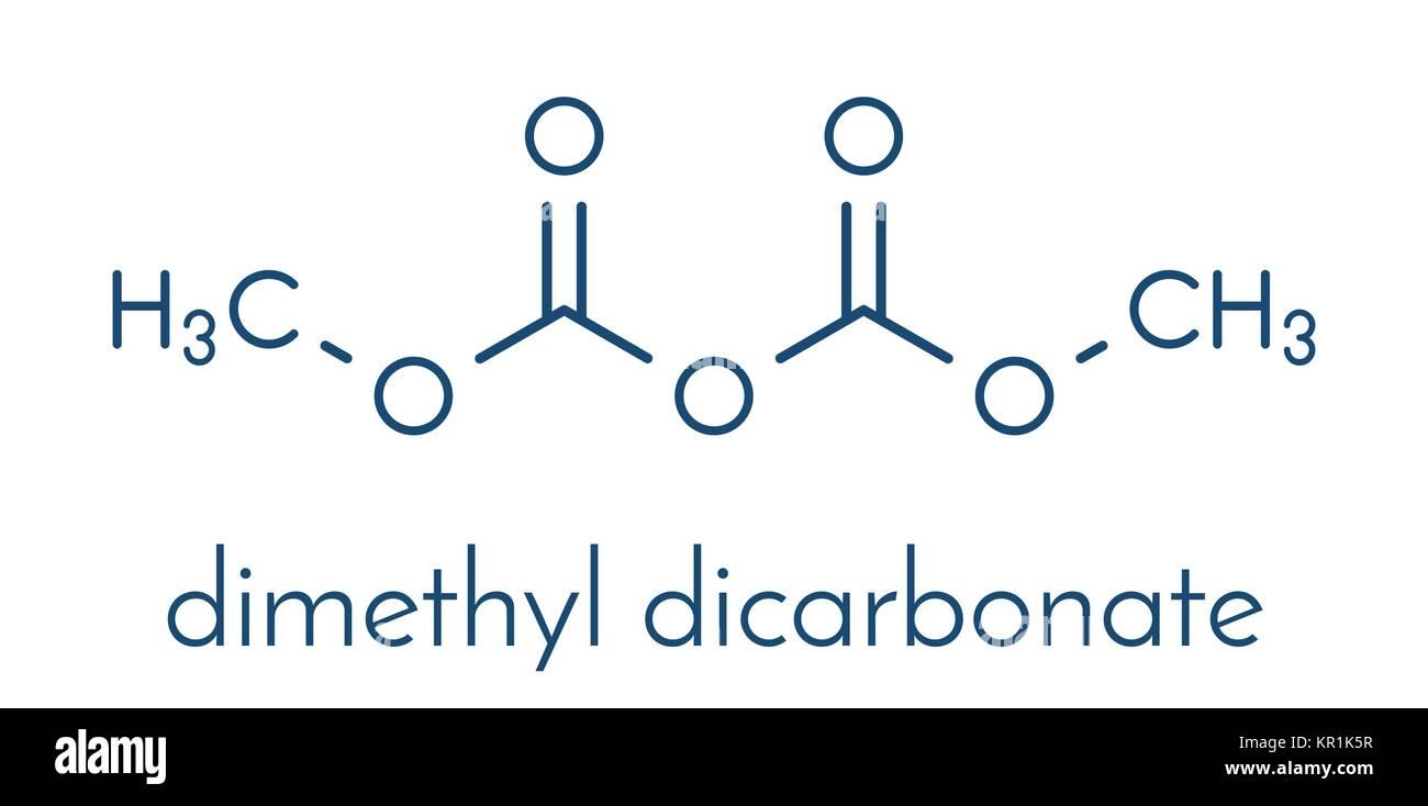 Dimethyl dicarbonate (DMDC) beverage preservative molecule. Additive added to wine, sport beverages, iced tea, etc. - Stock Image