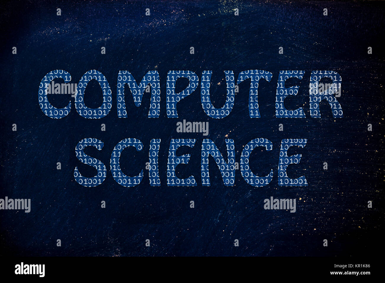 computer science writing with binary code pattern - Stock Image