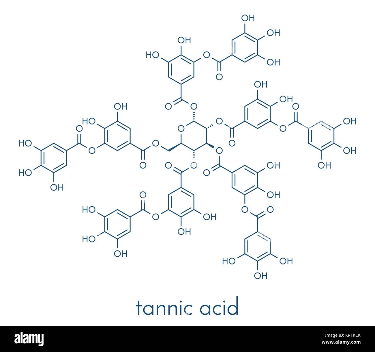 Tannic acid molecule (one isomer shown). Type of tannin. Skeletal formula. Stock Vector