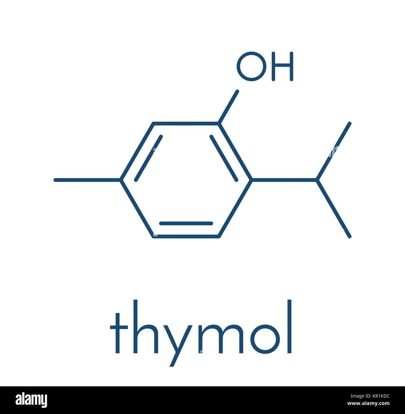 Thymol oil of thyme molecule. Present in kitchen herb Thymus vulgaris. Has antiseptic and preservative properties. - Stock Vector