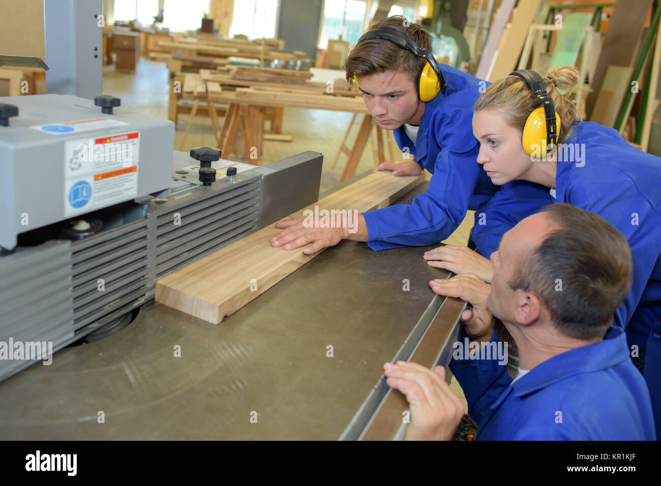 using a jointer - Stock Image