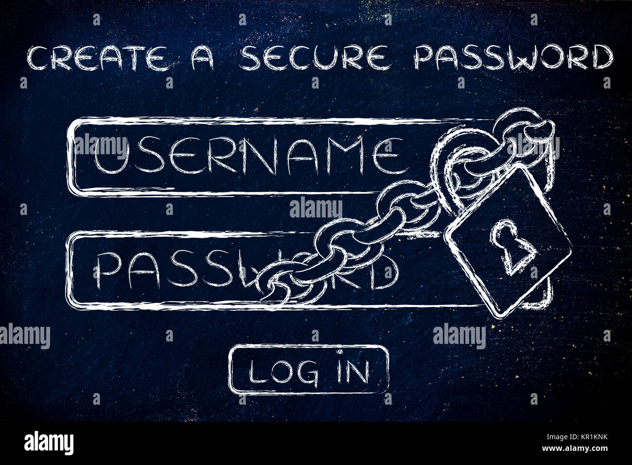 create a secure password, login with lock and chain - Stock Image