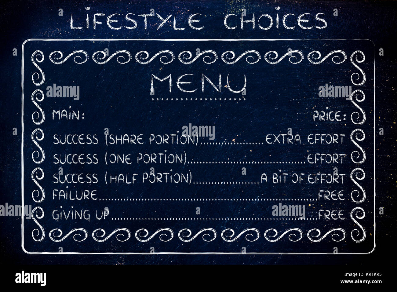 Funny Menu Of Life Choices Work For Success Or Fail For Free Stock Photo Alamy