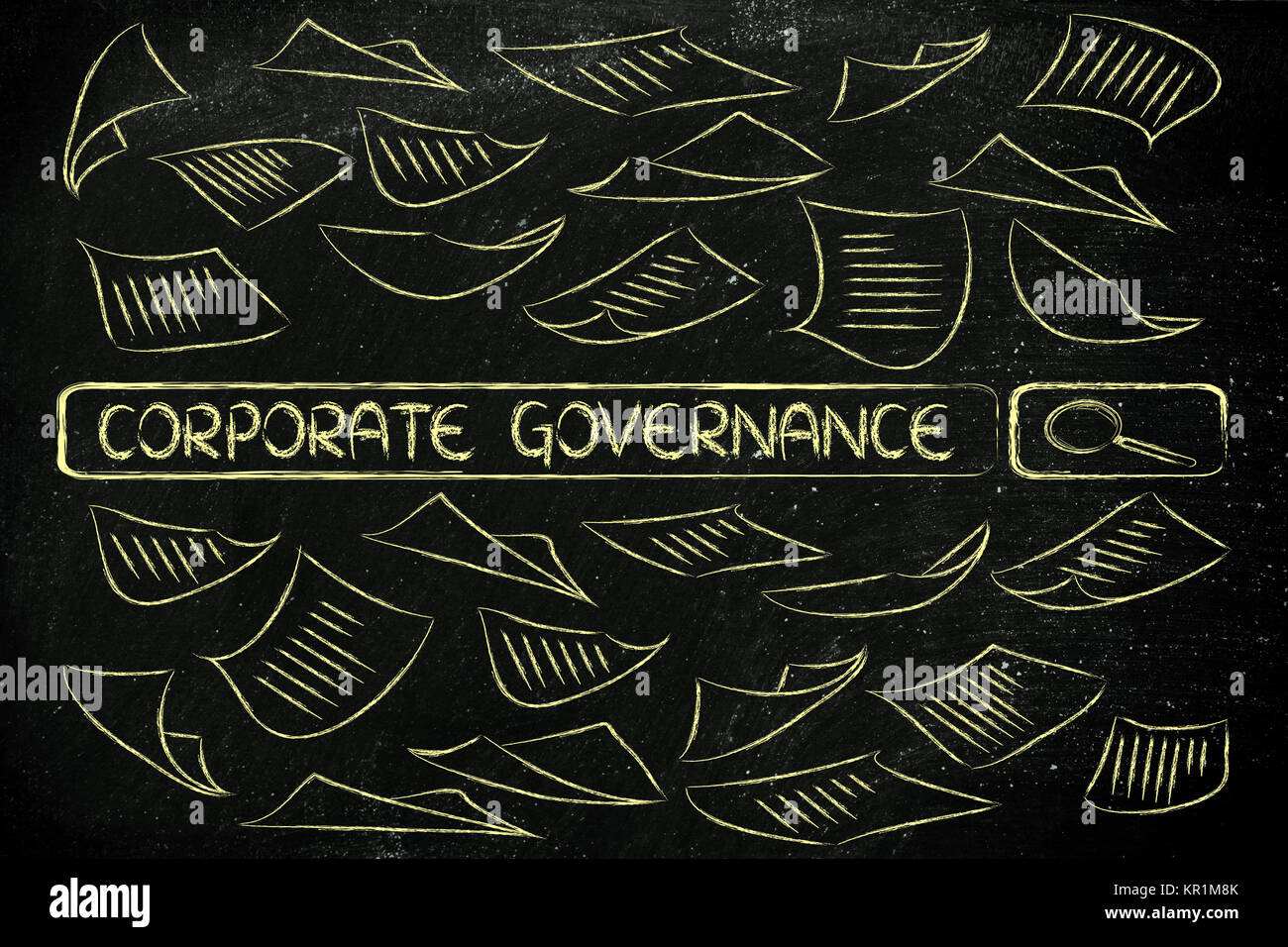 researching about corporate governance, messy business documents flying around a search engine bar - Stock Image