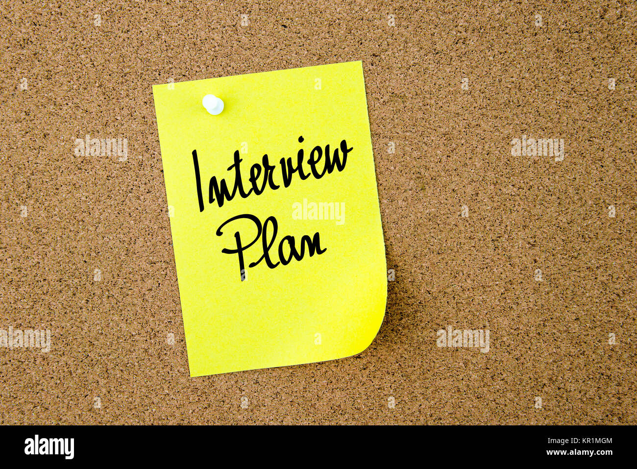 Interview Plan written on yellow paper note - Stock Image