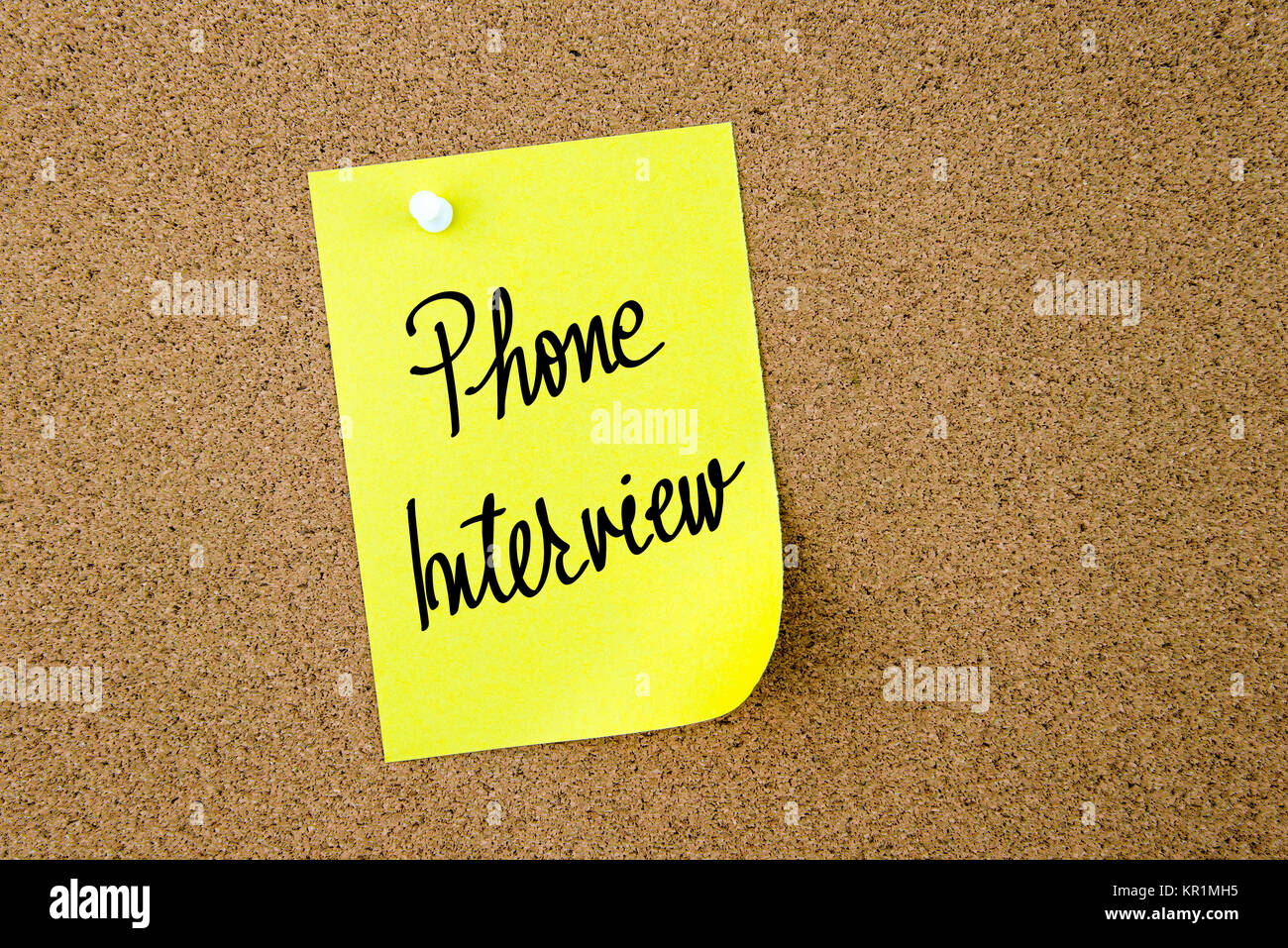 Phone Interview written on yellow paper note - Stock Image