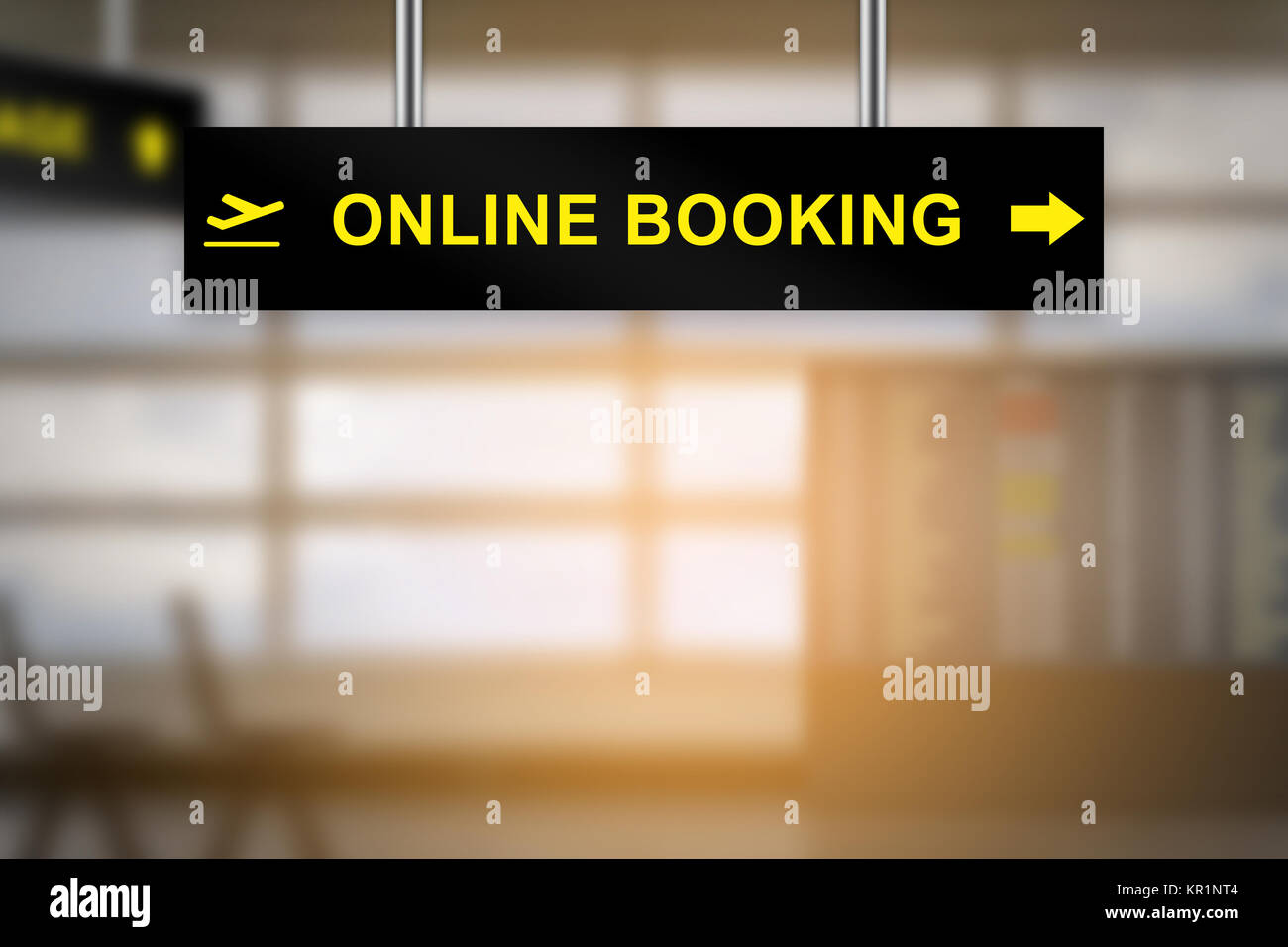 online booking on airport sign board - Stock Image