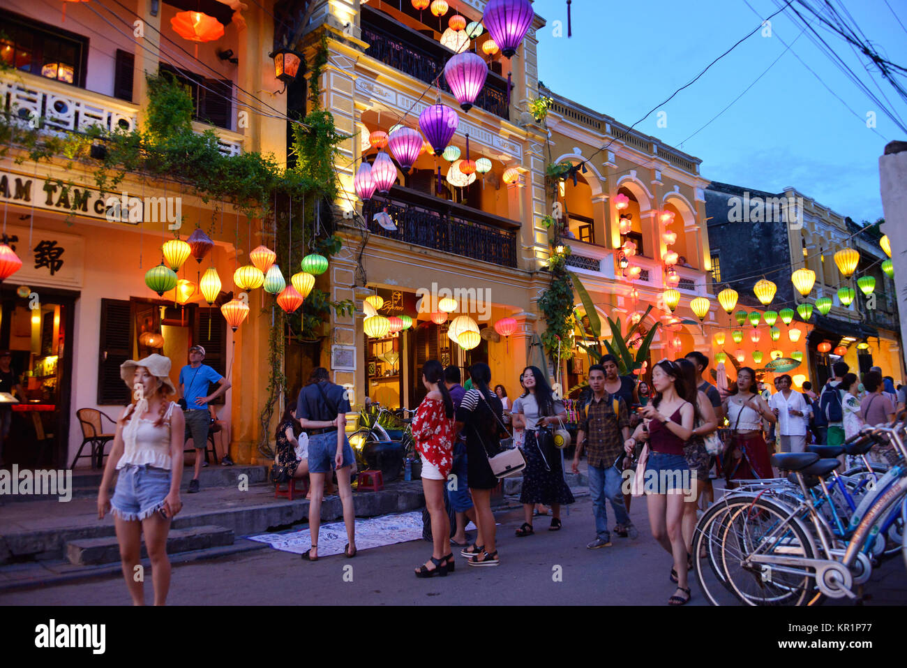 Tourists, Nguyen Thai Hoc, Hoi In, Vietnam, Touristen, Hoi An - Stock Image