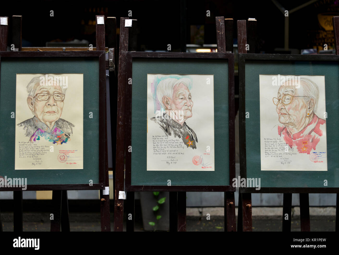 Earned of the Vietnam war, watercolour, Buchstrasse, Nguyen van Binh, Ho Chi Minh City, Vietnam, Verdiente des Vietnamkriegs, - Stock Image