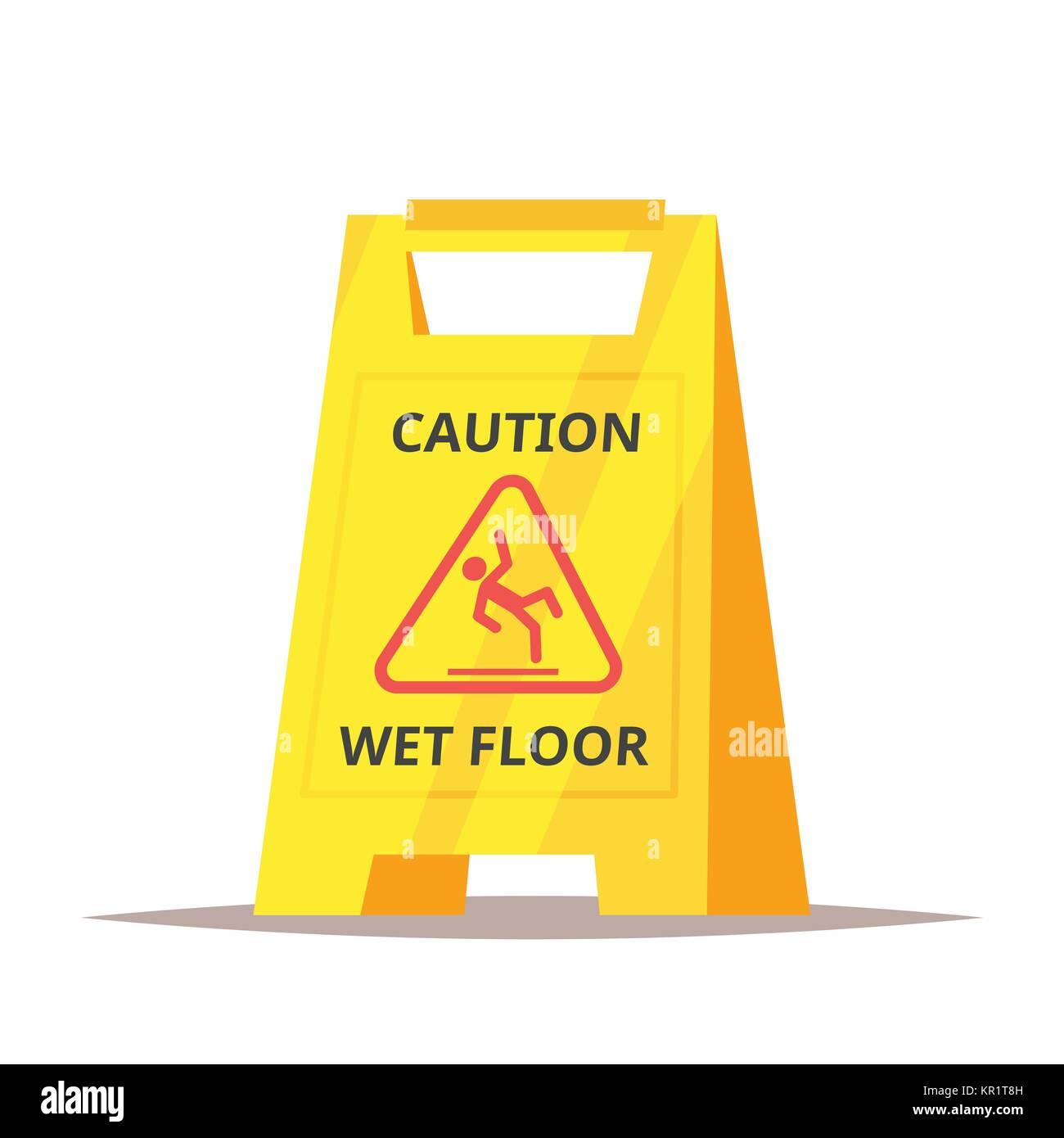 caution wet floor sign - Stock Image