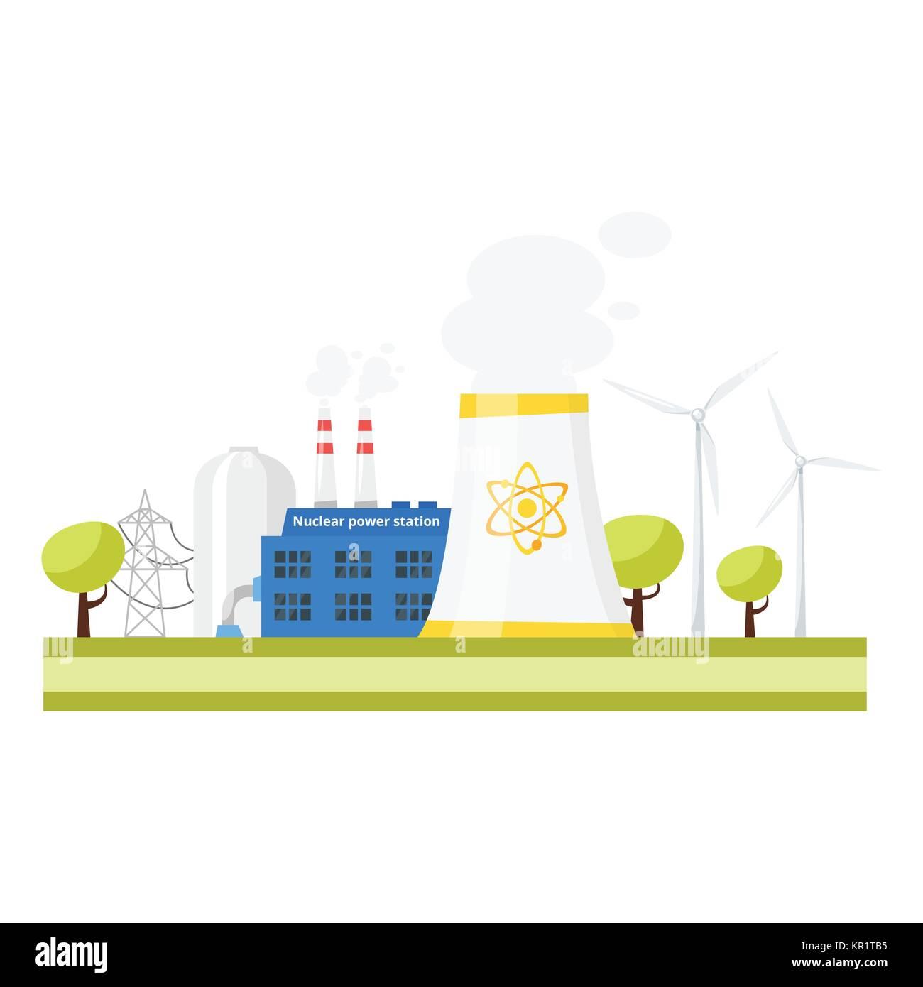 modern nuclear power plant. - Stock Vector