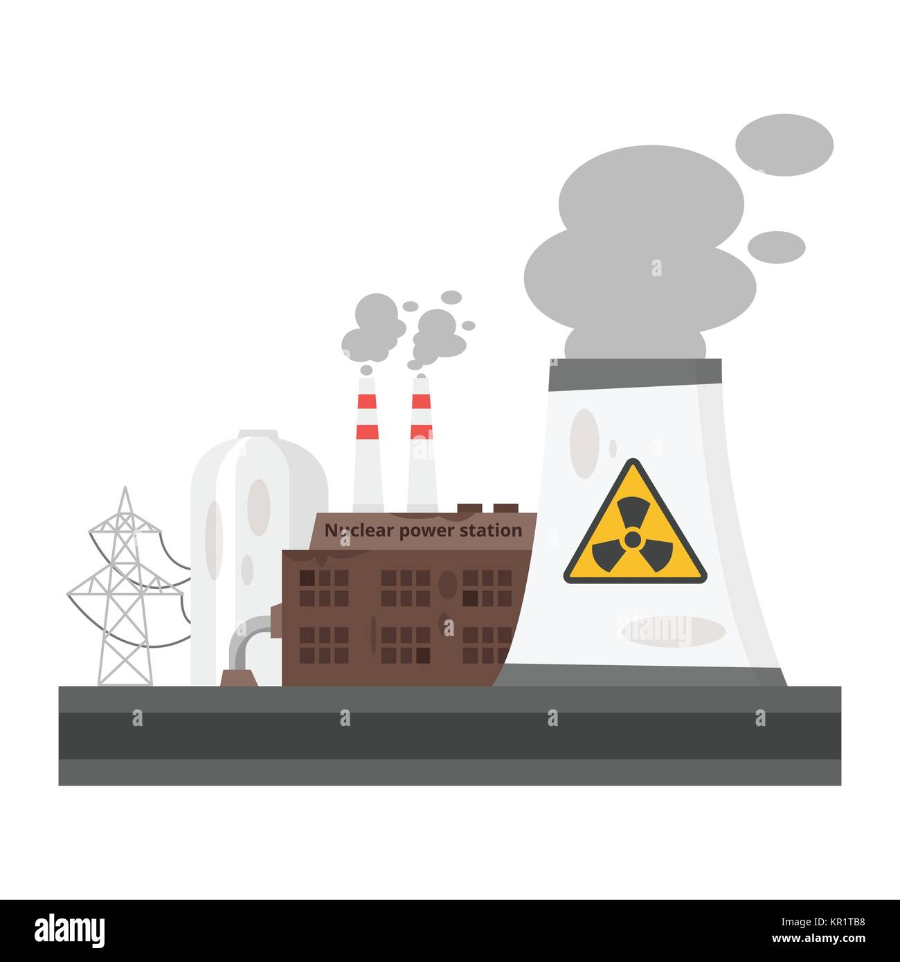 old nuclear power plant - Stock Vector