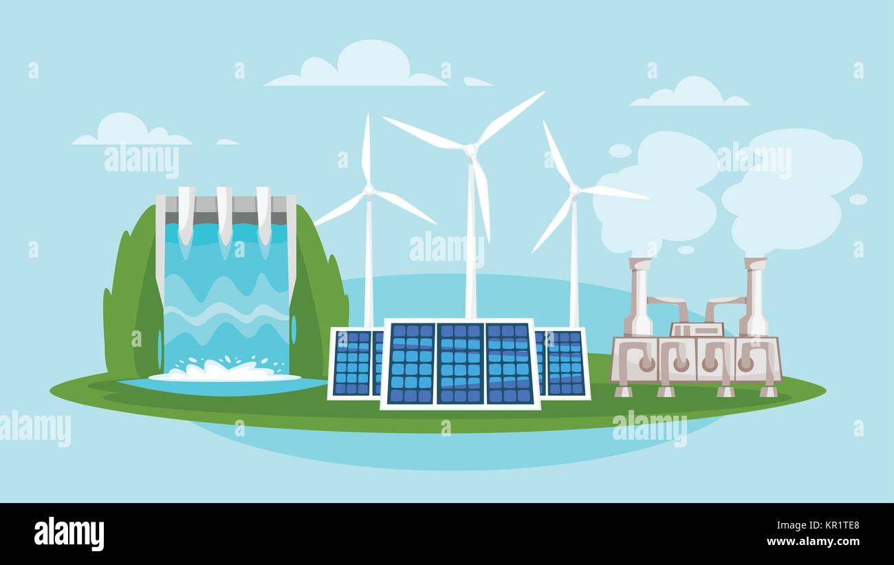 wind mills and solar panels - Stock Vector