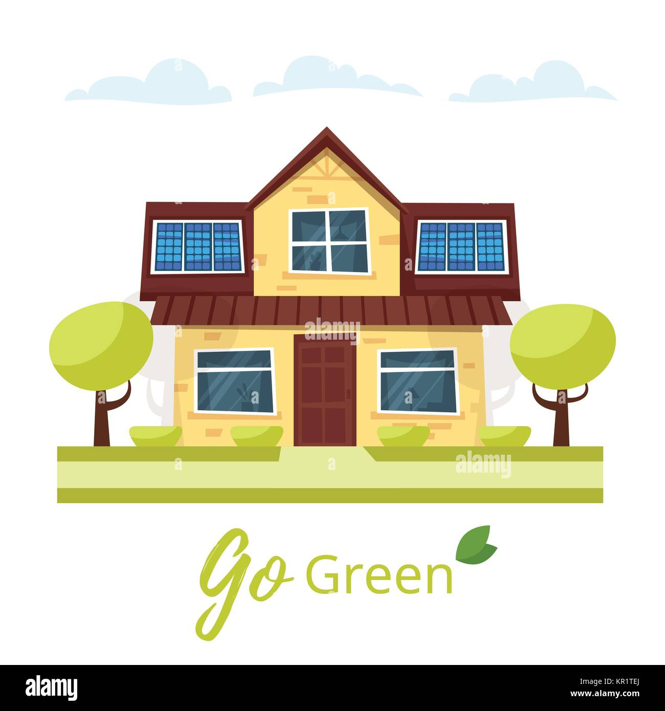 Eco house with solar panels  - Stock Vector