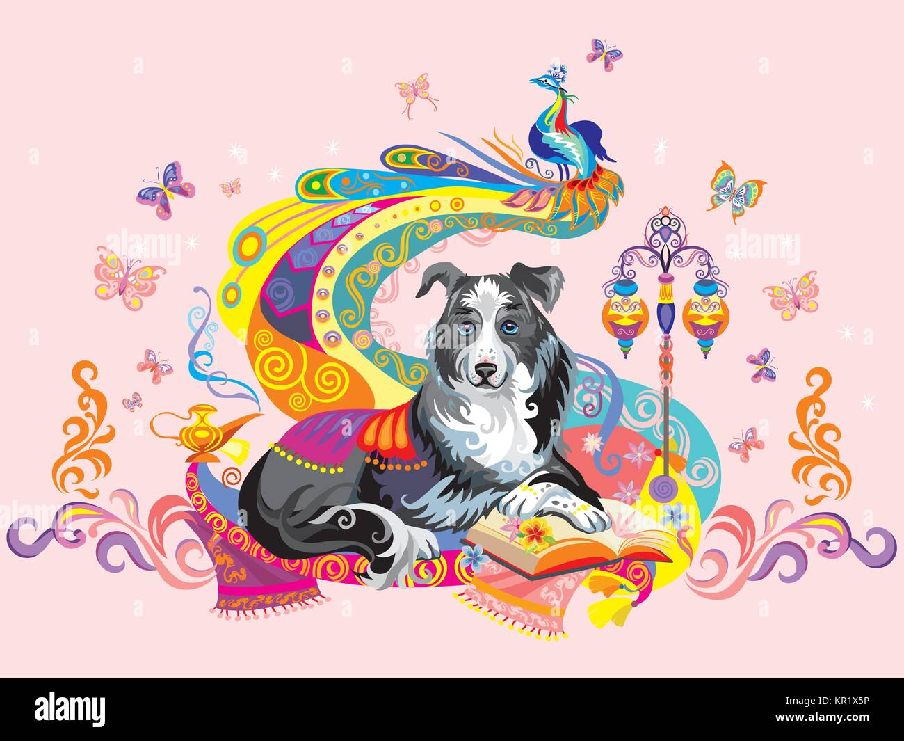 Vector colorful image with dog (border collie) isolated on pink background, the symbol of New year 2018 Stock Vector