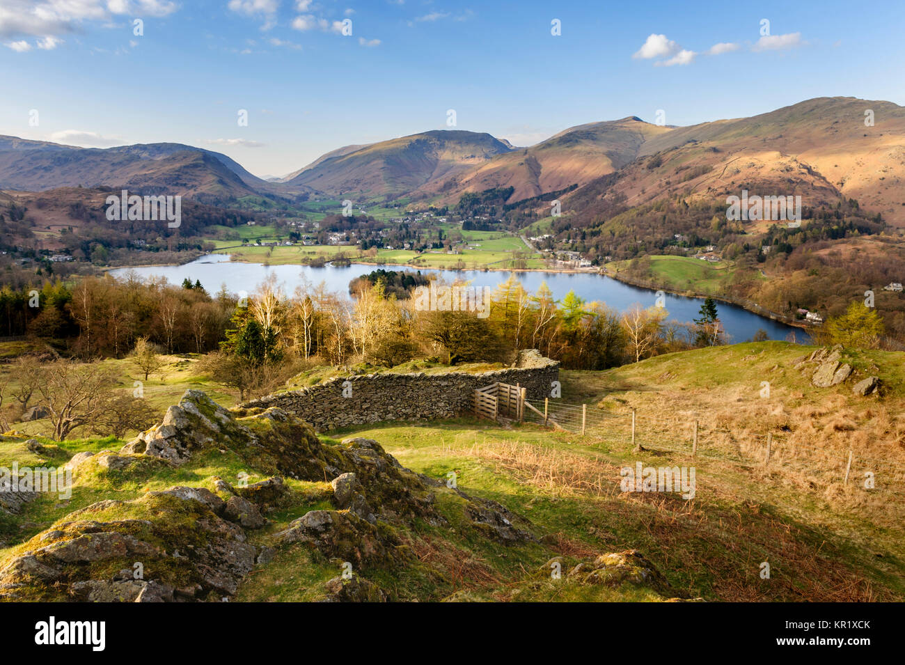 Grasmere  and surrounding fells above Loughrigg Terrace near Loughrigg Fell in the English Lake District - Stock Image