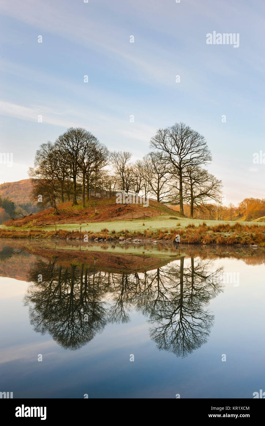 Elterwater a small lake in Cumbria near the Langdale Fells  at the southern end of the Lake District Stock Photo