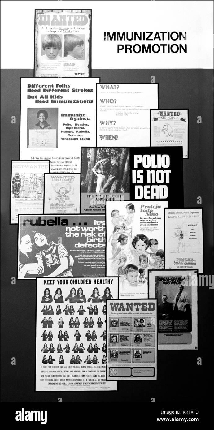 A collection of posters promoting several immunization programs, 1973. Collection of posters promoting several immunization - Stock Image