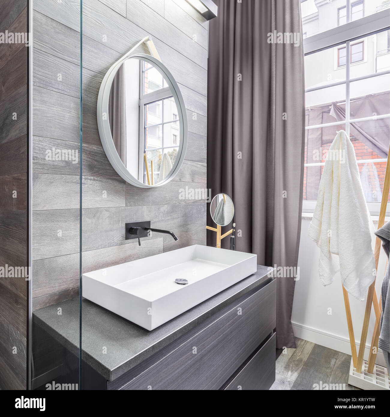 Elegant Design Bathroom With Wooden Walls White Basin And Round Stock Photo Alamy