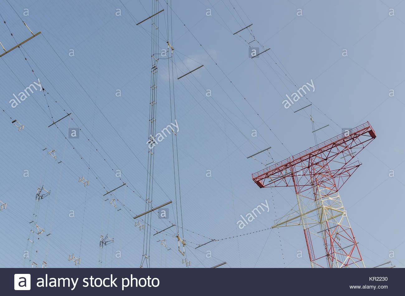 communication lines by transmitting plant Stock Photo