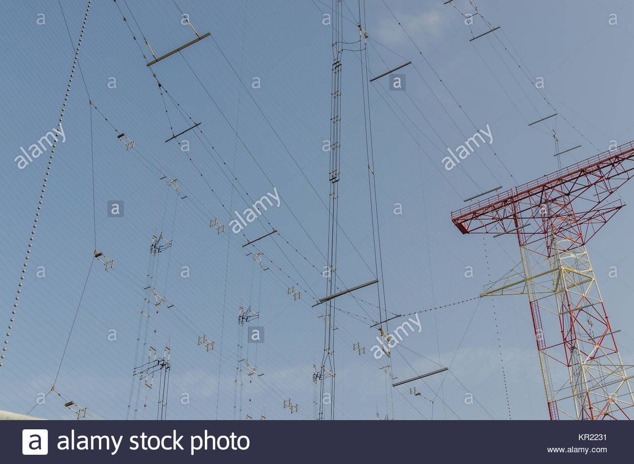many lines of a broadcast system Stock Photo