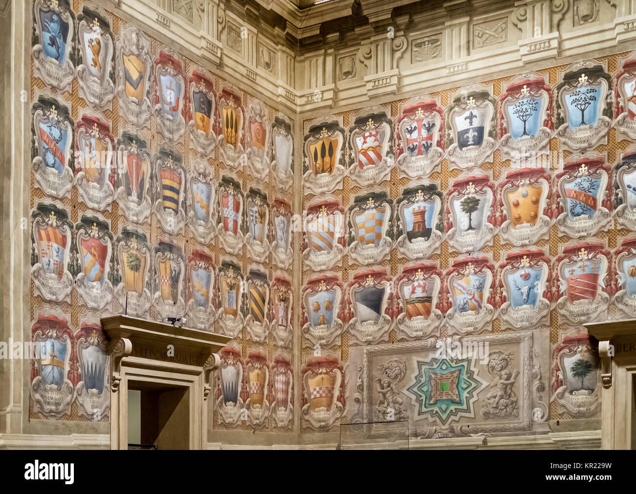 Bologna, italy. 03 - 18 - 2017. Famous  'Sala Urbana' in the Accursio palace; historical castle of the city. - Stock Image