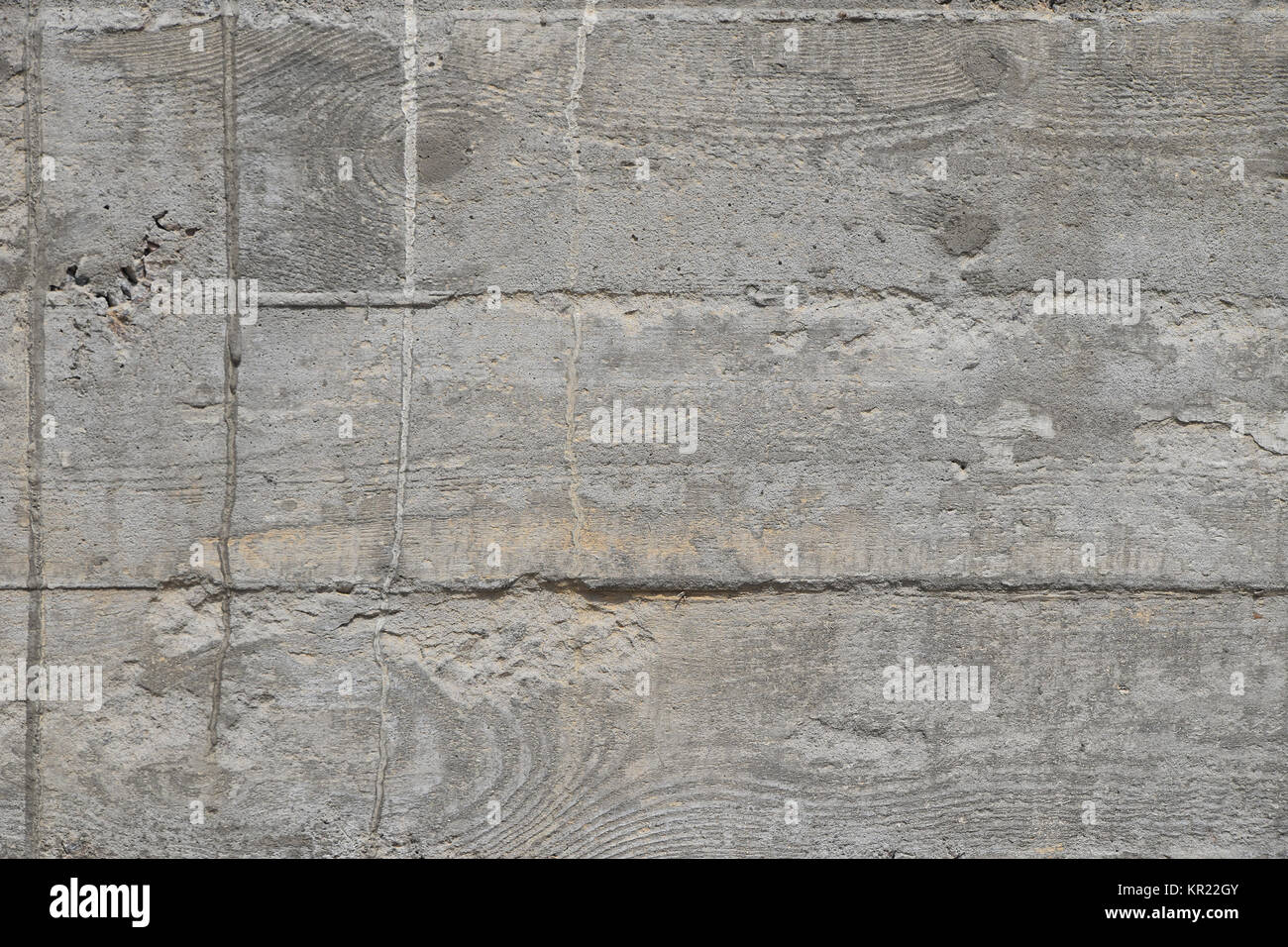 Concrete wall with cement sags close up - Stock Image