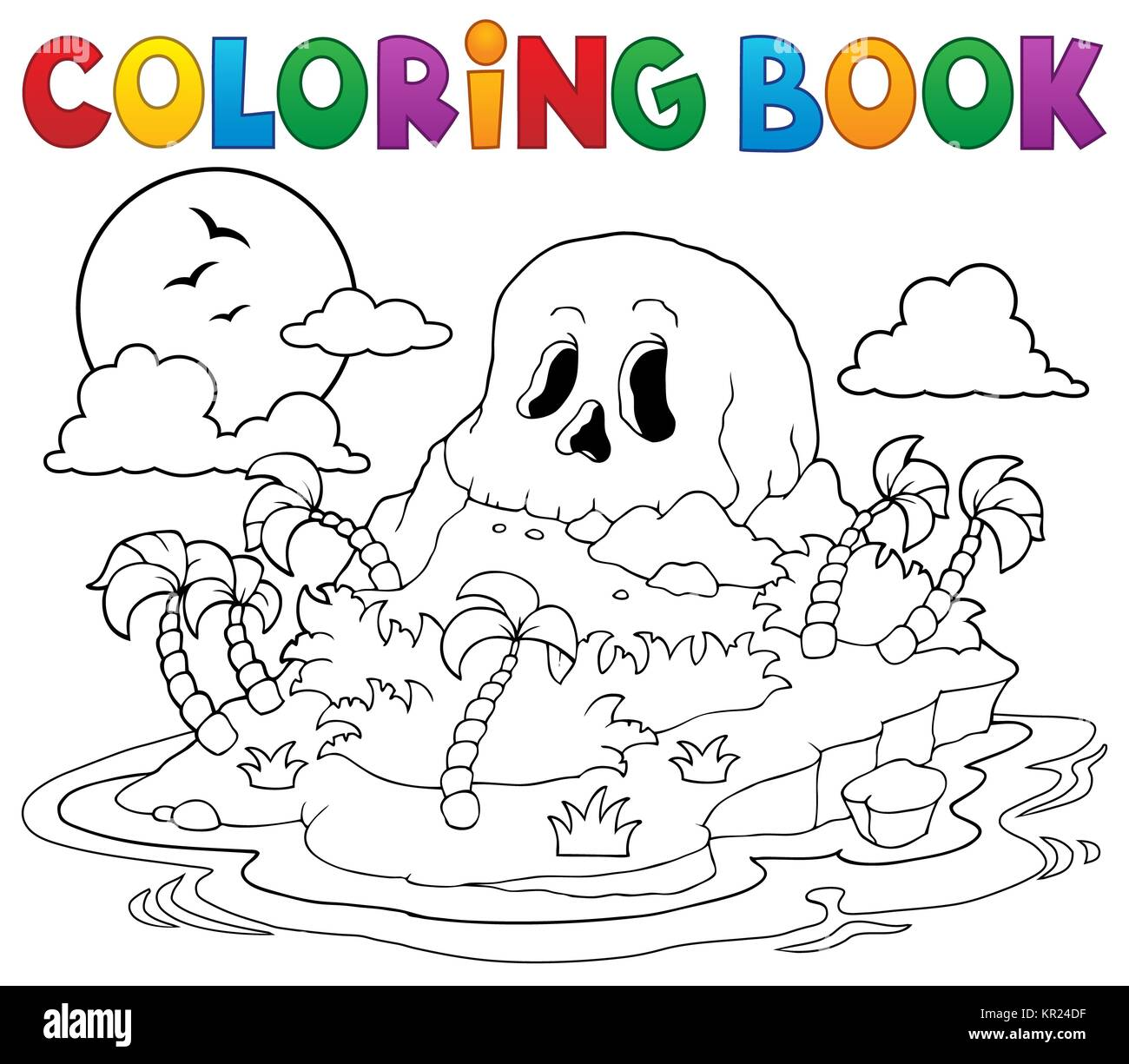 Coloring book pirate skull island Stock Photo
