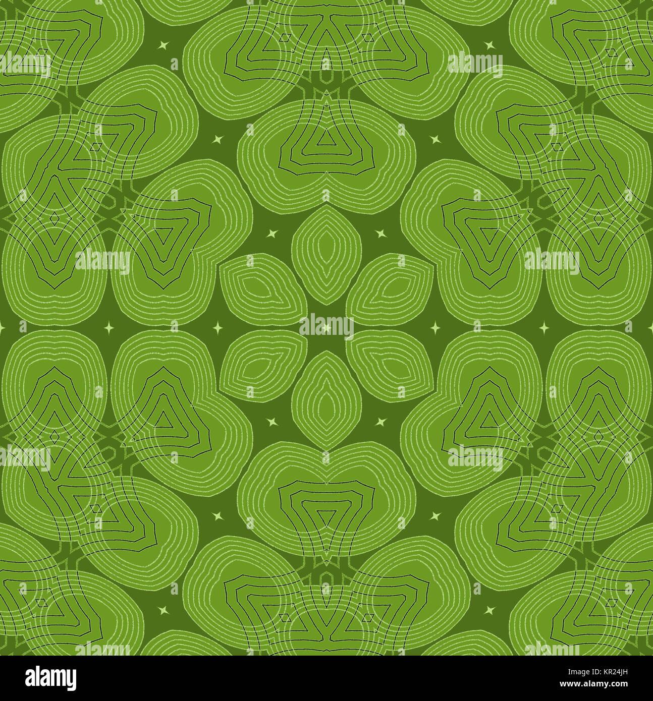 Abstract geometric plain background. Seamless ornament with light green elements on olive green with light outlines, - Stock Image