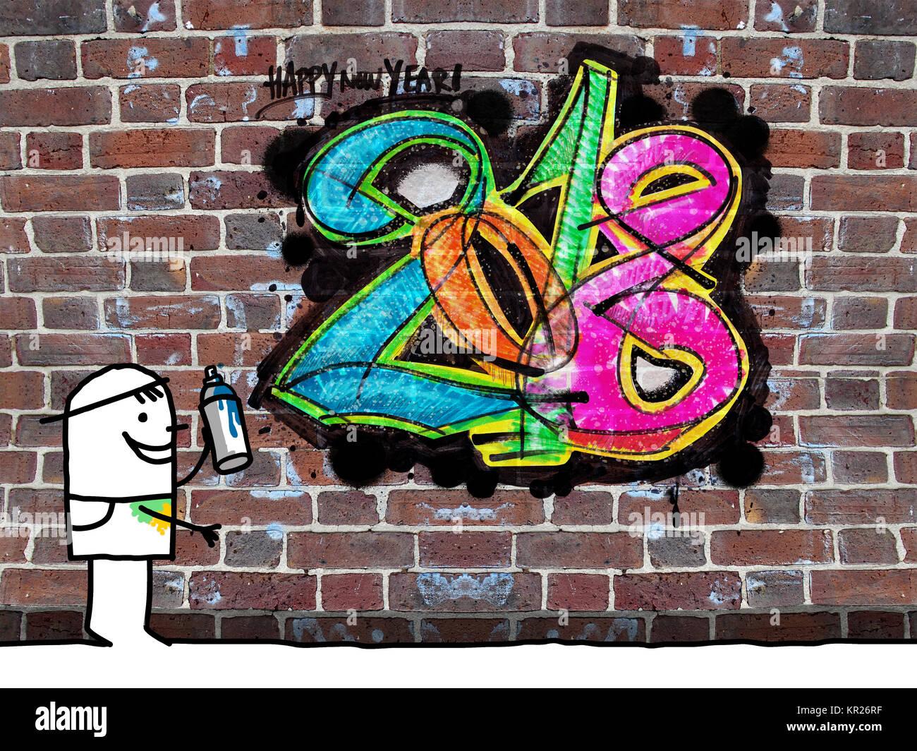Painter and fresh graffiti 2018 on a wall
