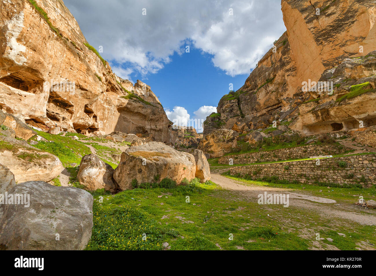 Ancient town of Hasankeyf in Turkey. The town will go under the water of the reservoir of a dam under construction Stock Photo