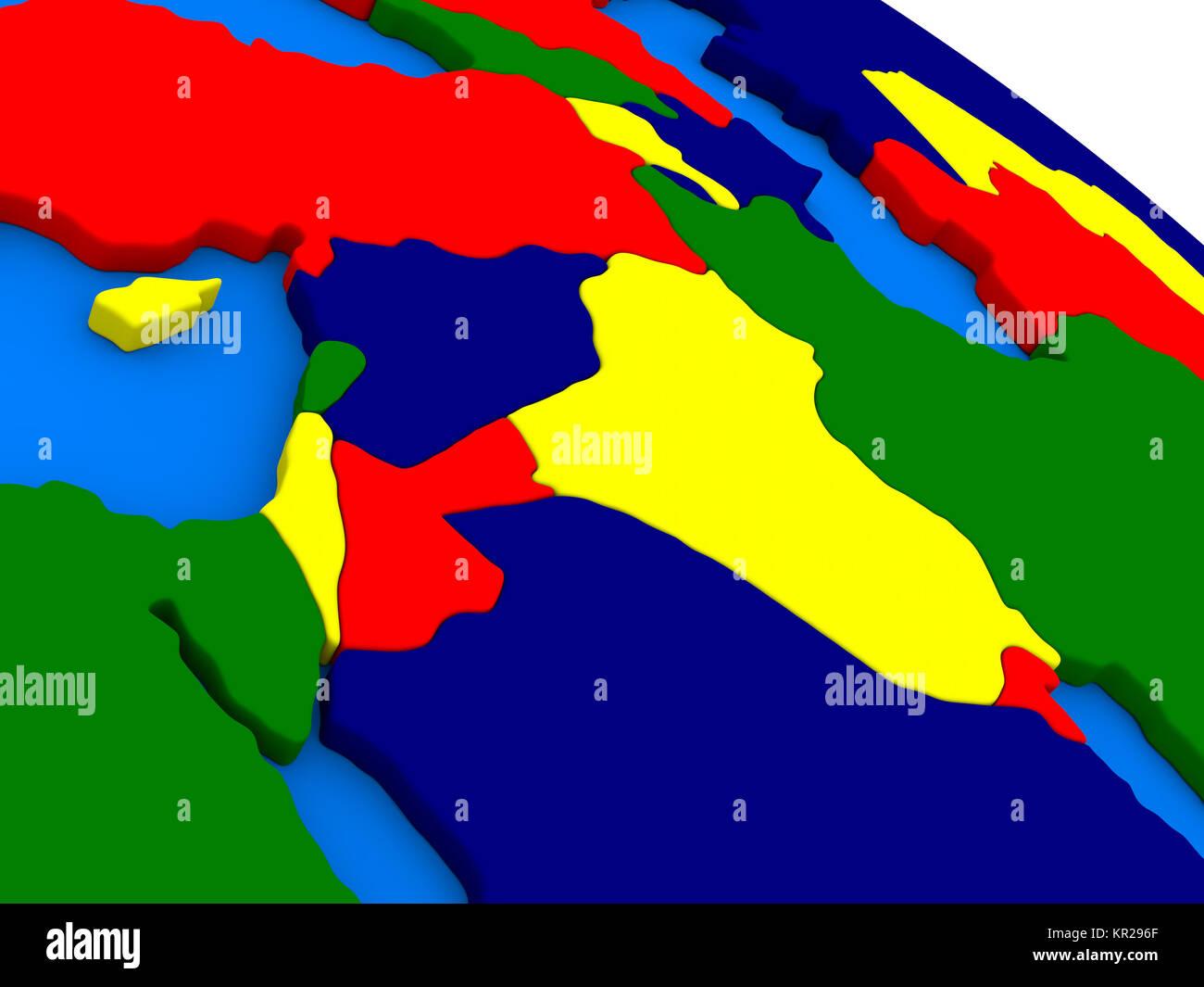Israel lebanon jordan syria and iraq region on colorful 3d globe israel lebanon jordan syria and iraq region on colorful 3d globe gumiabroncs Image collections