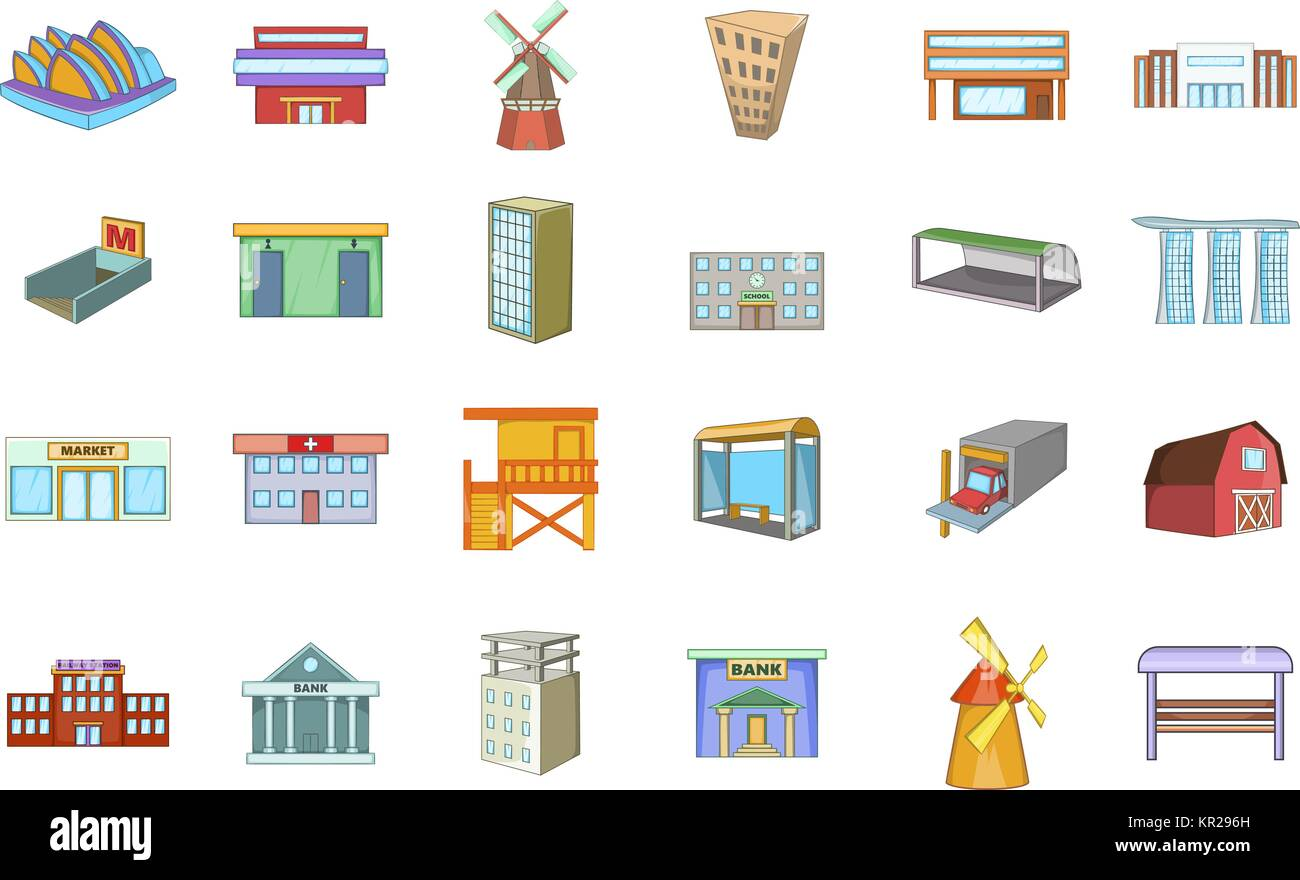 Building icon set, cartoon style - Stock Vector