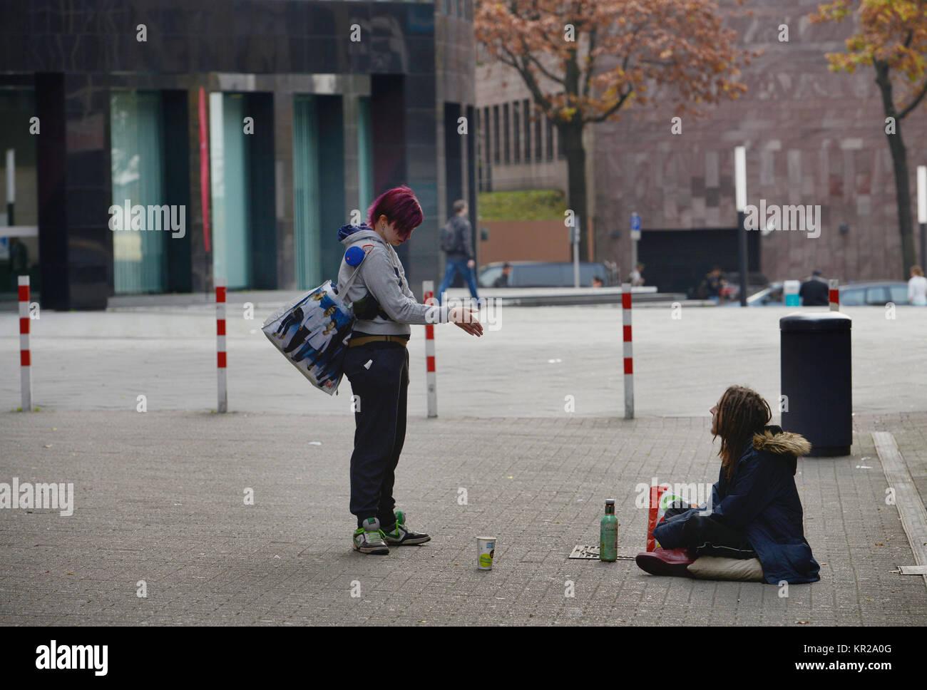 Beggar, museum lane, Dortmund, North Rhine-Westphalia, Germany, Bettler, Museumsgasse, Nordrhein-Westfalen, Deutschland - Stock Image