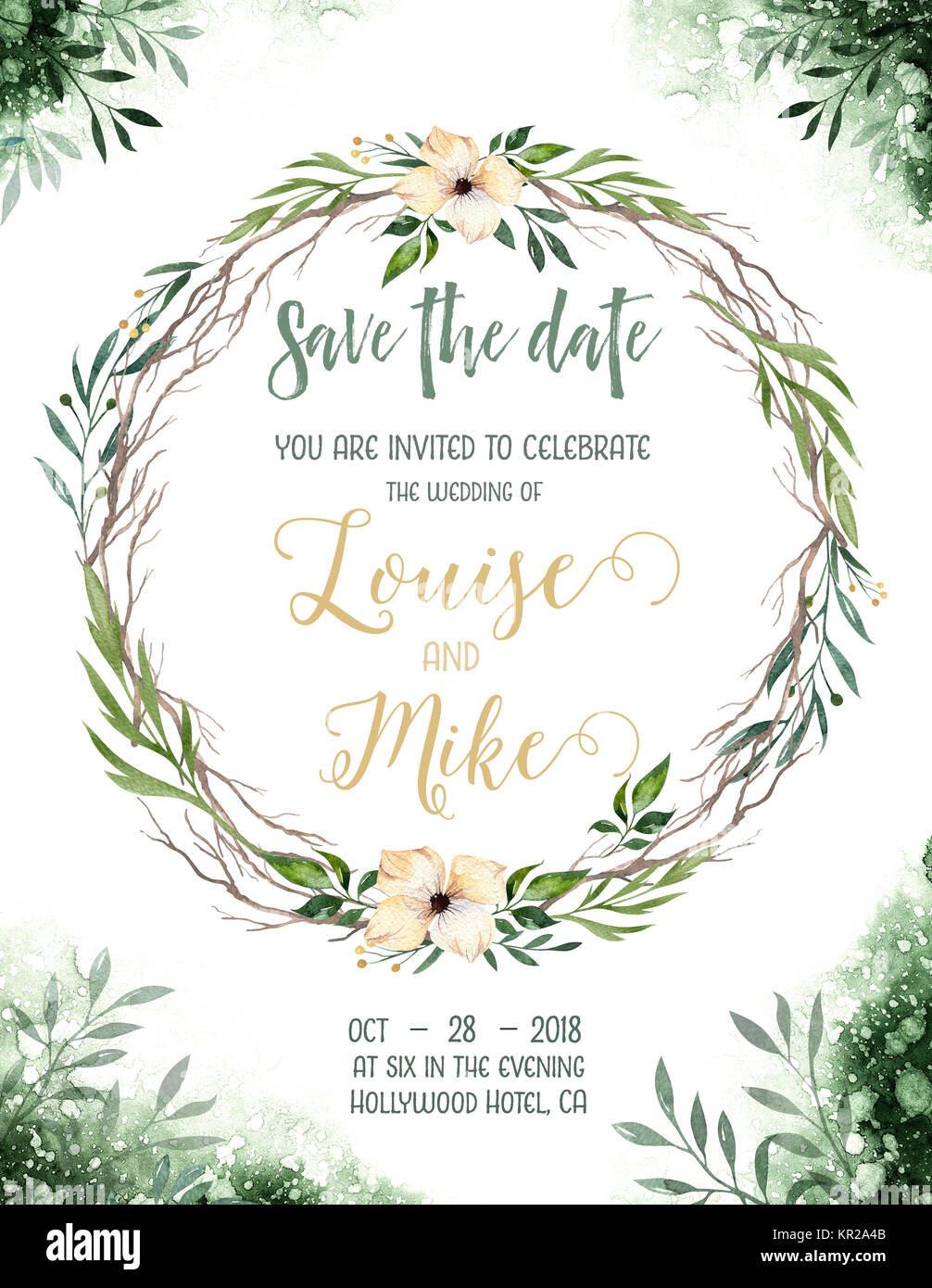 Watercolor greenery color wedding invitation card with green and
