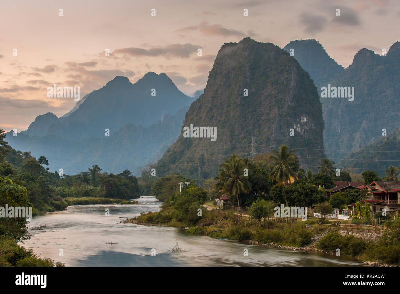 Beautiful sunrise over the Nam Song river near the Vang Vieng village, Laos - Stock Image