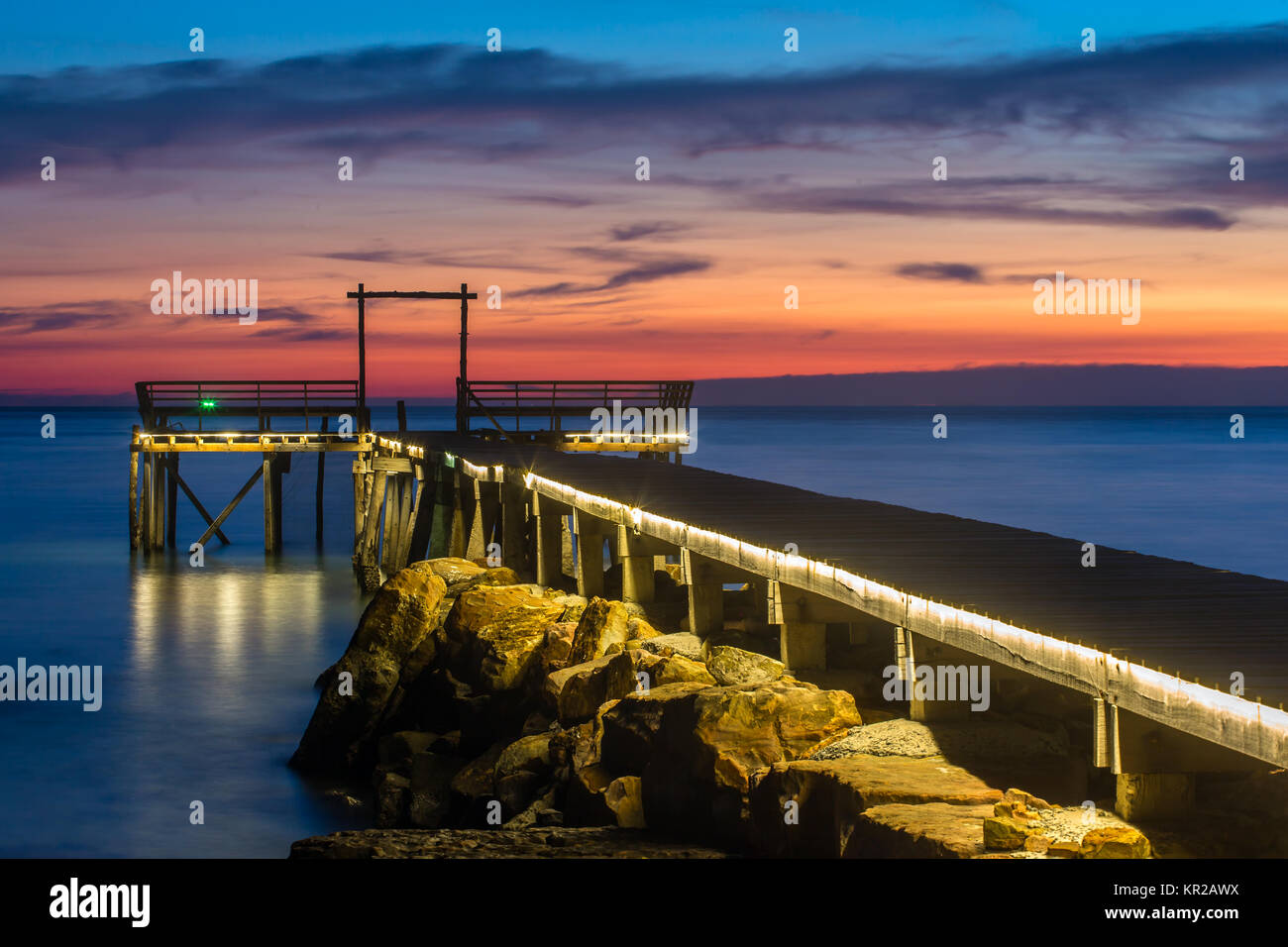 Beautiful pier on Koh Kood island in twilight, Thailand. - Stock Image