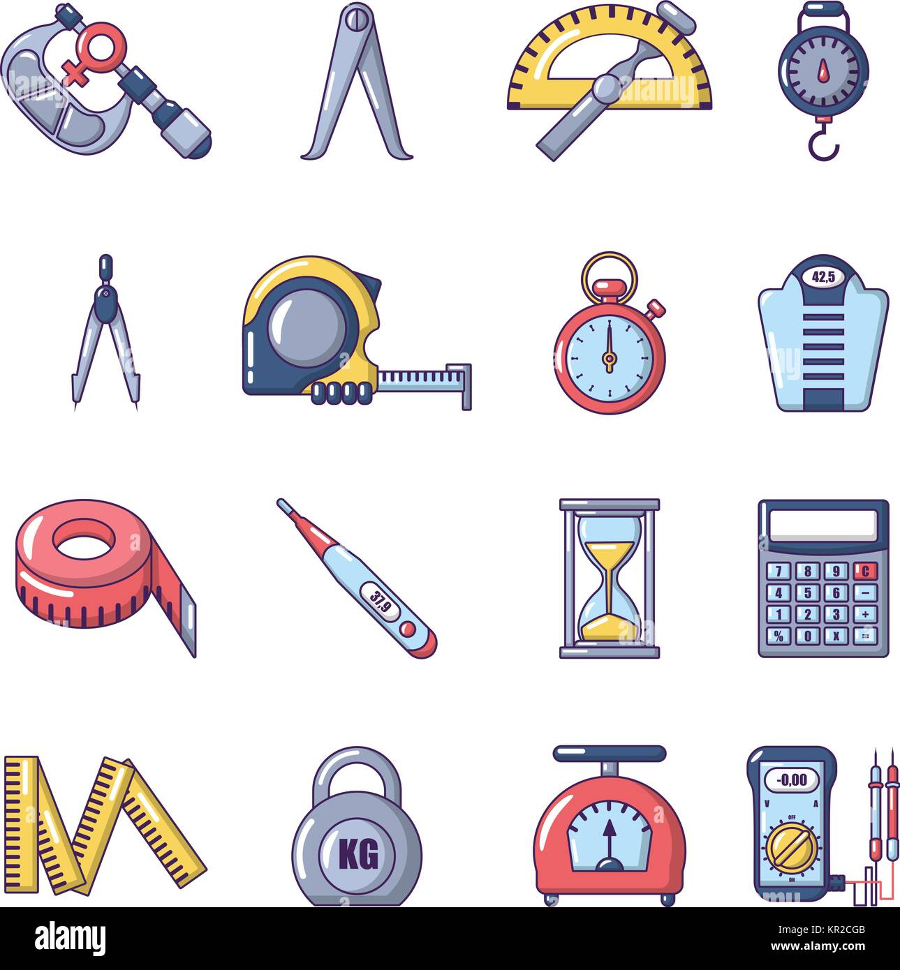 Measure precision icons set, cartoon style - Stock Image