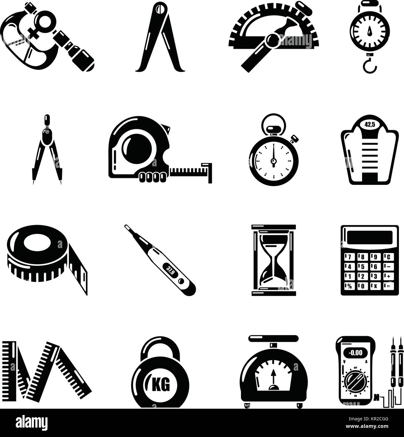 Measure precision icons set, simple style - Stock Image