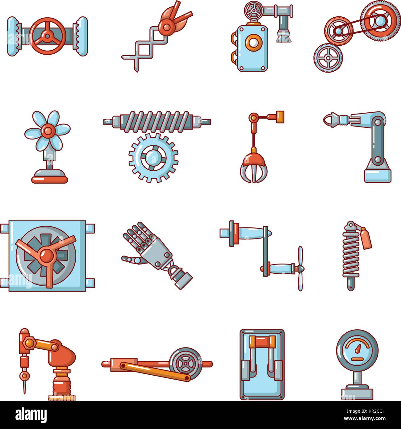 Technical mechanisms icons set, cartoon style - Stock Image