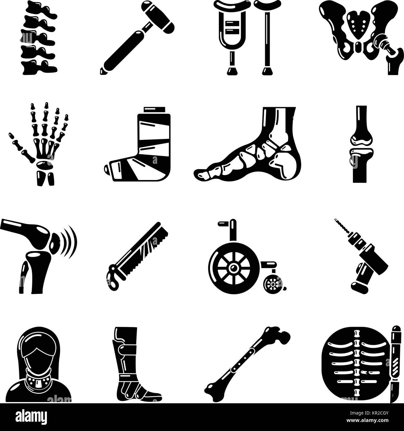 Orthopedist bone tools icons set, simple style - Stock Image