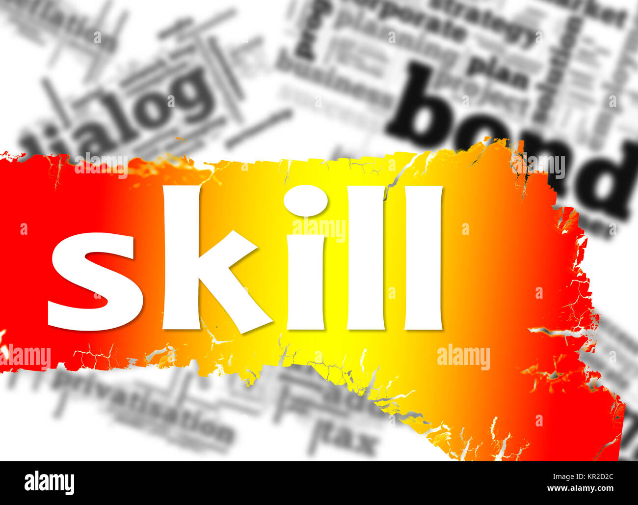 Word cloud with skill word - Stock Image
