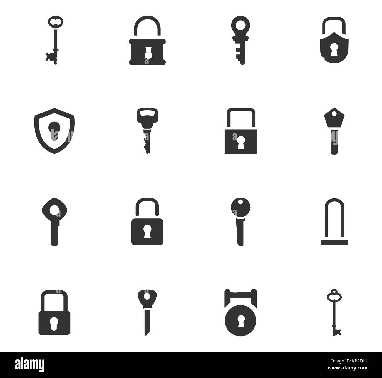 Lock and Key icons set - Stock Image