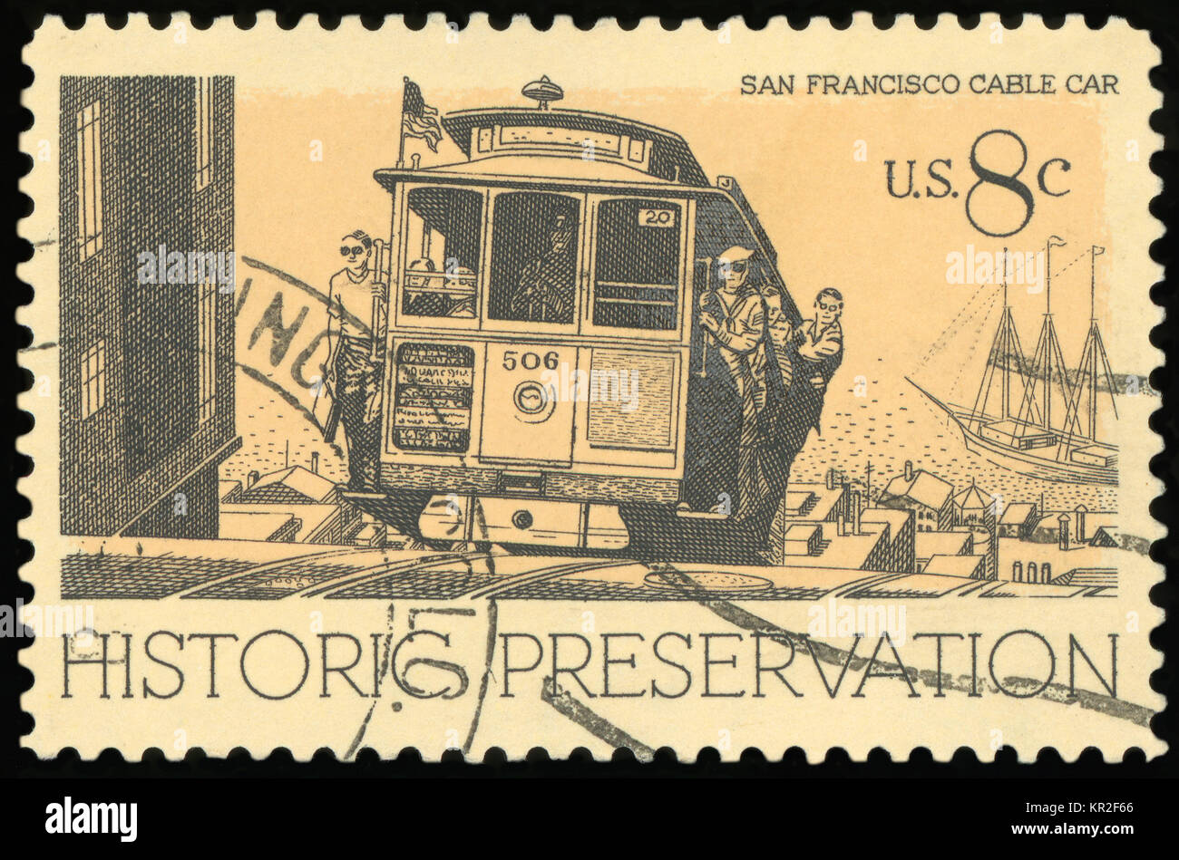 UNITED STATES - CIRCA 1971: A stamp printed in USA, shows Cable Car, San Francisco, series Historic Preservation - Stock Image